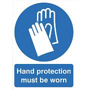 """Hand Protection Must Be Worn"" Sign 210 x 148mm"
