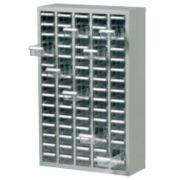 Steel Drawer Cabinet with 75 Bin Trays 586 x 222 x 937mm Grey