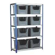 Shelf with 12 x Space Bins Silver/Blue 1200 x 450 x 1800mm