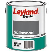 Leyland Trade Satinwood Paint Brilliant White 2.5Ltr