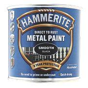 Hammerite Smooth Metal Paint Black 250ml