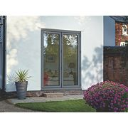 Bi-Fold Double-Glazed Patio Door Grey Aluminium 1794 x 2094mm