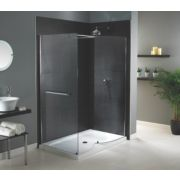 Aqualux Silver Shine Walk-In Shower Enclosure with Tray 800 x 1400mm