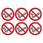 No Smoking Symbol Adhesive Labels 100mm 230 x 330mm Pack of 30