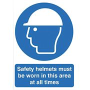 """Safety Helmets Must Be Worn In This Area At All Times"" Sign 420 x 297mm"