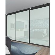 3 Door Sliding Wardrobe Doors Black Frame White Glass Panel 918 x 2330mm