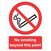 """No Smoking Beyond This Point"" Sign 210 x 148mm"