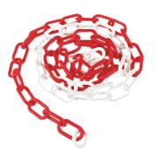 PLASTIC CHAIN RED WHITE 5MX6MM
