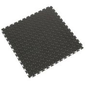 COBA Europe Tough Lock PVC Interlocking Floor Tiles Black Pack of 4