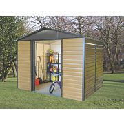 Yardmaster Sliding Door Apex Shed Woodgrain Effect 10 x 6 x 7