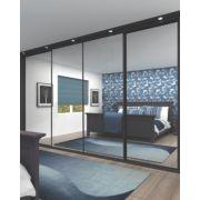 4 Door Wardrobe Doors Black Frame Mirror Panel 2925 x 2330mm