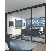 4 Door Wardrobe Doors Black Frame Mirror Panel 2925 x 2330mm