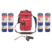 Rothenberger Hot Bag with Super Fire & 4 x Propane Gas Cylinders