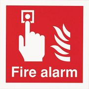 "Glow-In-The-Dark ""Fire Alarm"" Sign 100 x 100mm"