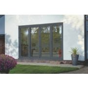 Bi-Fold Double-Glazed Patio Door Grey Aluminium 3163 x 2094mm