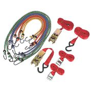 Ratchet Cambuckle Tie-Down & Bungee Set 12 Piece Set