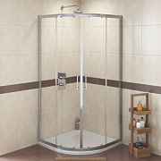 Swirl Quadrant Shower Enclosure Sliding Door Polished Silver 900mm