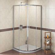 Swirl Quadrant Shower Enclosure Double Sliding Door Silver 900mm