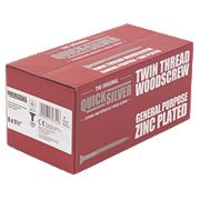 "Quicksilver Zinc-Plated Woodscrews Double-Countersunk 8ga x 1½"" Pk1000"