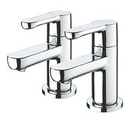 Bristan Nero Bath Pillar Bathroom Taps Pair