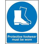 """""""Protective Footwear Must Be Worn"""" Sign 400 x 300mm"""