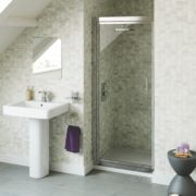 Swirl Pivot Shower Door Polished Silver 760mm