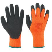 Marigold Industrial Hi Viz Thermal Latex Palm Gloves Orange Large