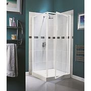 Aqualux White Pivot Shower Enclosure Door 760 x 1850mm