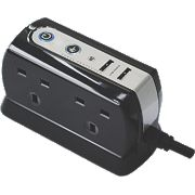 Masterplug Compact Surge Protected Extension Lead 4 Gang 1m 2 x 1A USB
