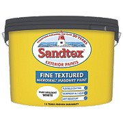 Sandtex Fine Textured Masonry Paint Pure Brilliant White 10Ltr