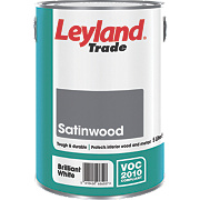 Leyland Trade Satinwood Gloss Paint Brilliant White 5Ltr