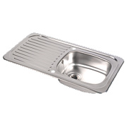 Astracast Tudor Kitchen Sink SS 1 Bowl & Reversible Drainer 935 x 160mm