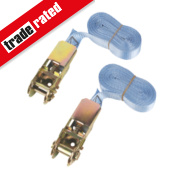 Ratchet Tie-Down Straps 5m x 25mm 2 Piece Set