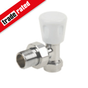 Angled Radiator Valve Chrome 15mm x ½