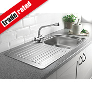 Franke 1 Bowl Kitchen Sink with Tap & Drainer Stainless Steel 860 x 500mm