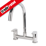 Swirl Rapture Dual Lever Deck Mixer Kitchen Tap Chrome