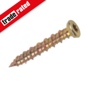 Multi-Fix Gold Flat Countersunk T30 Recess Concrete Screws 7.5 x 70mm Pk100