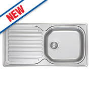 Franke Inset Kitchen Sink Stainless Steel 1 Bowl & Reversible Drainer 965 x 500mm