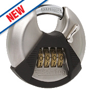 Sterling Steel Combination Disc Padlock Satin Stainless Steel 70mm
