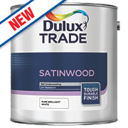 Dulux Trade Satinwood Gloss Paint Pure Brilliant White 2.5Ltr