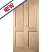 Jeld-Wen Oregon 4-Panel Interior Bi-Fold Door Oak Veneer 1950 x 595mm