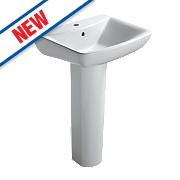 Ideal Standard Vue Full Pedestal Basin 1 Tap Hole 550mm