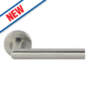 Eurospec Mitred Lever on Rose Pair Satin Stainless Steel