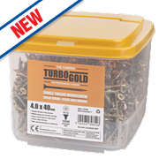 TurboGold Yellow Zinc-Plated Woodscrews Double-Self-Countersunk 4 x 40mm Pack of 1000