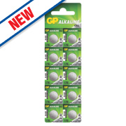 GP Batteries Alkaline Coin Cell Batteries LR44 Pack of 10