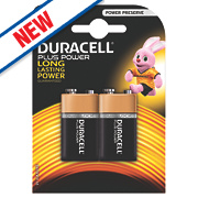 Duracell Alkaline Plus Power 9V Batteries Pack of 2