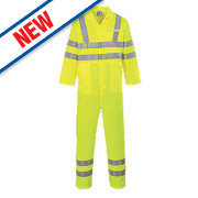 "Portwest E042 Hi-Vis Coverall Yellow Large 44"" Chest 31"" L"