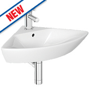 Madrid Wall-Hung Corner Basin 1 Tap Hole 450mm