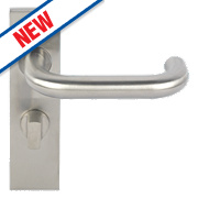 Eurospec Saftey Lever on Backplate WC Pair Satin Stainless Steel