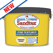 Sandtex Fine Textured Masonry Paint Cornish Cream 10Ltr